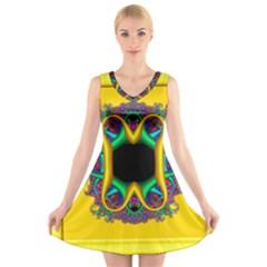 Fractal Rings In 3d Glass Frame V Neck Sleeveless Skater Dress