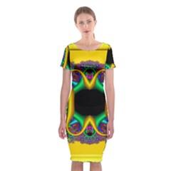Fractal Rings In 3d Glass Frame Classic Short Sleeve Midi Dress