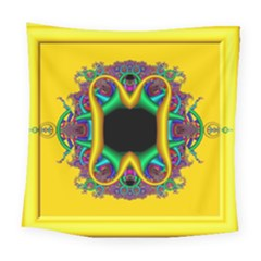 Fractal Rings In 3d Glass Frame Square Tapestry (large)