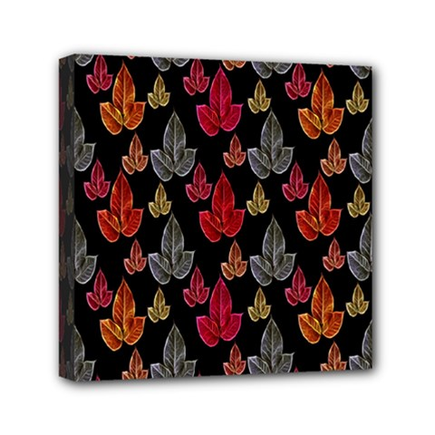 Leaves Pattern Background Mini Canvas 6  X 6