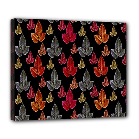 Leaves Pattern Background Deluxe Canvas 24  x 20