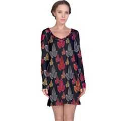 Leaves Pattern Background Long Sleeve Nightdress