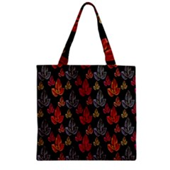 Leaves Pattern Background Zipper Grocery Tote Bag
