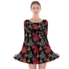 Leaves Pattern Background Long Sleeve Skater Dress