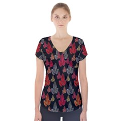 Leaves Pattern Background Short Sleeve Front Detail Top
