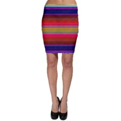 Fiestal Stripe Bright Colorful Neon Stripes Background Bodycon Skirt
