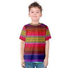 Fiestal Stripe Bright Colorful Neon Stripes Background Kids  Cotton Tee