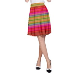 Fiestal Stripe Bright Colorful Neon Stripes Background A Line Skirt