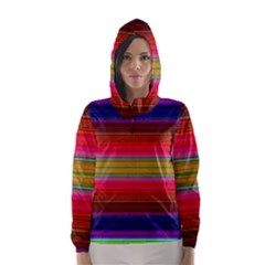 Fiestal Stripe Bright Colorful Neon Stripes Background Hooded Wind Breaker (Women)
