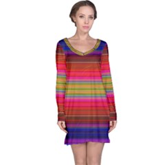 Fiestal Stripe Bright Colorful Neon Stripes Background Long Sleeve Nightdress