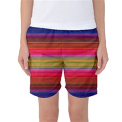 Fiestal Stripe Bright Colorful Neon Stripes Background Women s Basketball Shorts