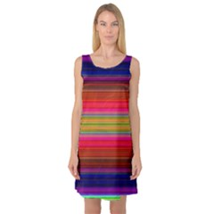 Fiestal Stripe Bright Colorful Neon Stripes Background Sleeveless Satin Nightdress