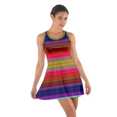 Fiestal Stripe Bright Colorful Neon Stripes Background Cotton Racerback Dress