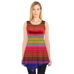 Fiestal Stripe Bright Colorful Neon Stripes Background Sleeveless Tunic