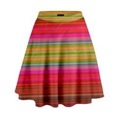 Fiestal Stripe Bright Colorful Neon Stripes Background High Waist Skirt