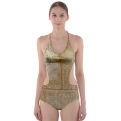 Texture Of Ceramic Tile Cut Out One Piece Swimsuit