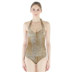 Texture Of Ceramic Tile Halter Swimsuit