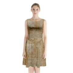 Texture Of Ceramic Tile Sleeveless Chiffon Waist Tie Dress