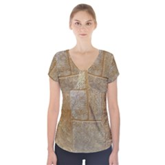Texture Of Ceramic Tile Short Sleeve Front Detail Top