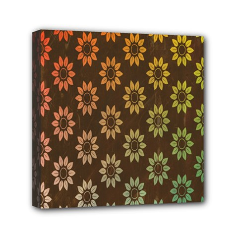 Grunge Brown Flower Background Pattern Mini Canvas 6  X 6