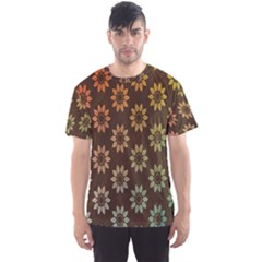 Grunge Brown Flower Background Pattern Men s Sport Mesh Tee
