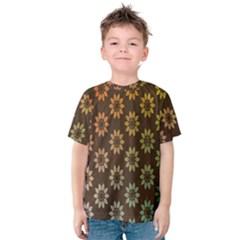 Grunge Brown Flower Background Pattern Kids  Cotton Tee