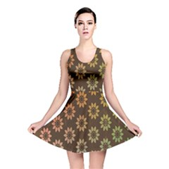 Grunge Brown Flower Background Pattern Reversible Skater Dress