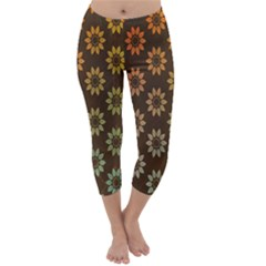 Grunge Brown Flower Background Pattern Capri Winter Leggings
