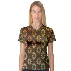 Grunge Brown Flower Background Pattern Women s V-Neck Sport Mesh Tee