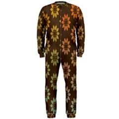 Grunge Brown Flower Background Pattern OnePiece Jumpsuit (Men)