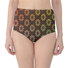 Grunge Brown Flower Background Pattern High Waist Bikini Bottoms
