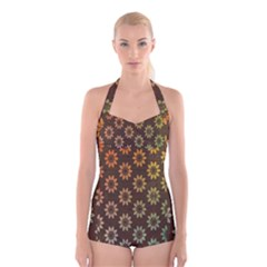 Grunge Brown Flower Background Pattern Boyleg Halter Swimsuit