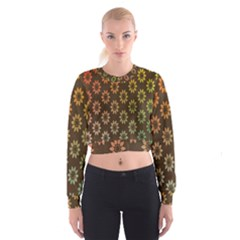 Grunge Brown Flower Background Pattern Women s Cropped Sweatshirt