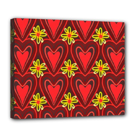 Digitally Created Seamless Love Heart Pattern Tile Deluxe Canvas 24  X 20