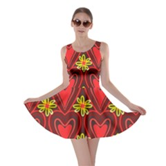 Digitally Created Seamless Love Heart Pattern Tile Skater Dress