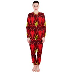 Digitally Created Seamless Love Heart Pattern Tile Onepiece Jumpsuit (ladies)