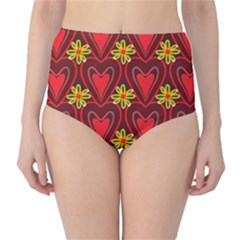 Digitally Created Seamless Love Heart Pattern Tile High-Waist Bikini Bottoms