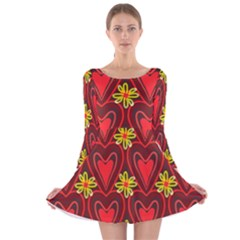 Digitally Created Seamless Love Heart Pattern Tile Long Sleeve Velvet Skater Dress