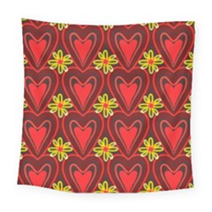 Digitally Created Seamless Love Heart Pattern Tile Square Tapestry (large)