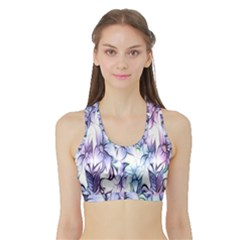 Floral Pattern Background Sports Bra with Border