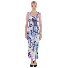 Floral Pattern Background Fitted Maxi Dress