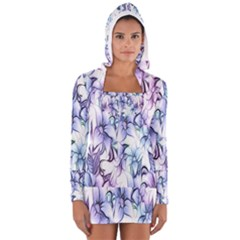 Floral Pattern Background Women s Long Sleeve Hooded T Shirt