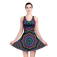 Cyan Yellow Magenta Kaleidoscope Reversible Skater Dress