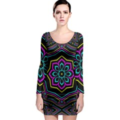 Cyan Yellow Magenta Kaleidoscope Long Sleeve Bodycon Dress