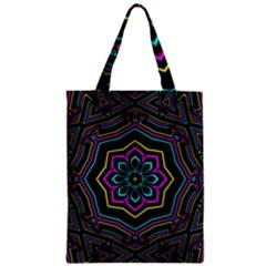 Cyan Yellow Magenta Kaleidoscope Zipper Classic Tote Bag