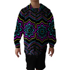 Cyan Yellow Magenta Kaleidoscope Hooded Wind Breaker (Kids)