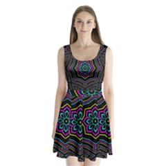 Cyan Yellow Magenta Kaleidoscope Split Back Mini Dress