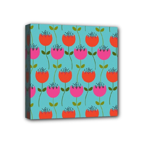 Tulips Floral Background Pattern Mini Canvas 4  X 4
