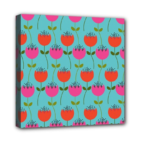 Tulips Floral Background Pattern Mini Canvas 8  X 8