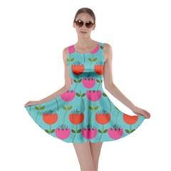Tulips Floral Background Pattern Skater Dress